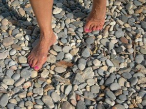 Self-Reflexology pressure on pebbles