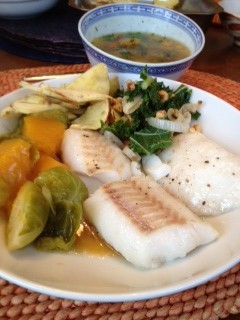 Bean Soup and Fish w Squash Nishime stir fry kale